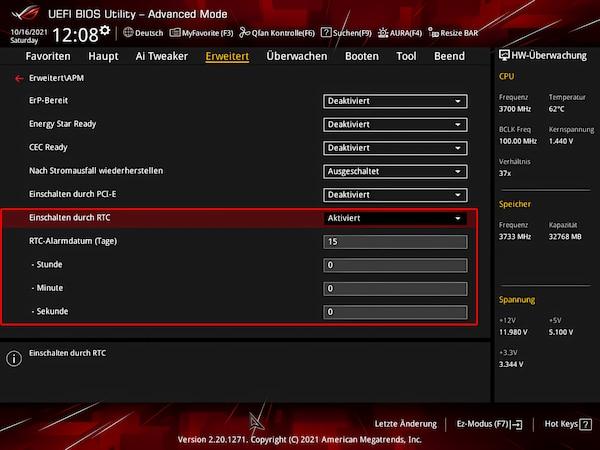 Windows-PC automatisch starten: RTC-Start im BIOS aktivieren