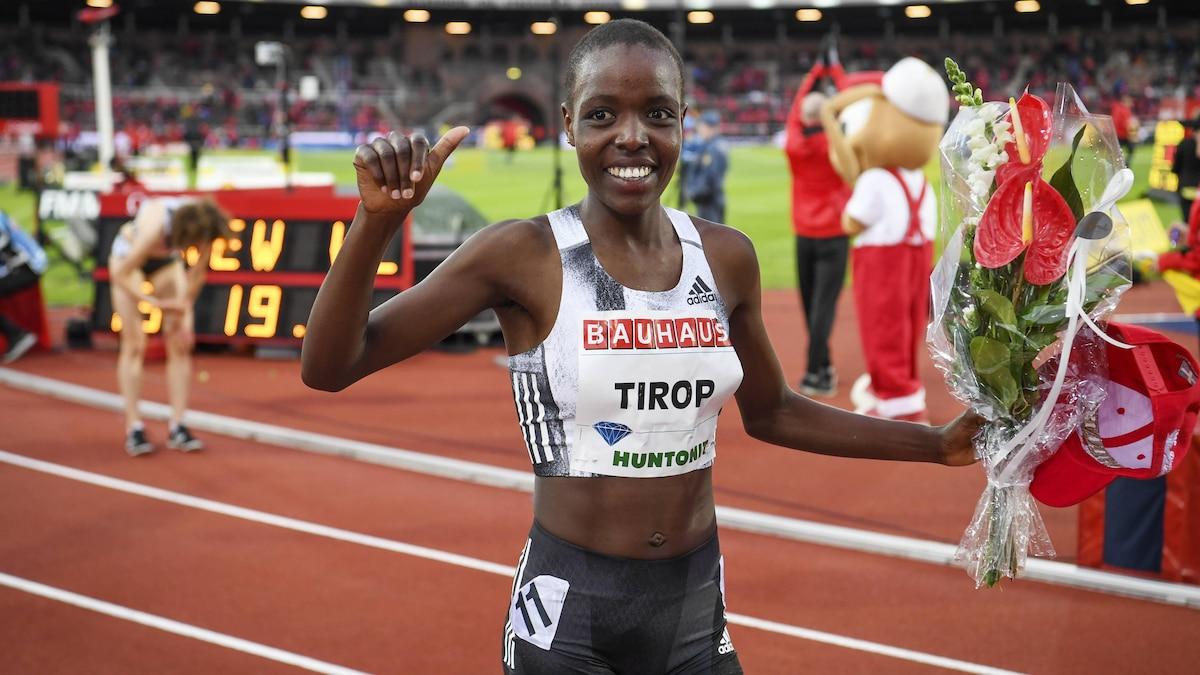 Agnes Tirop aus Kenia 2019 bei einem Rennen in Stockholm