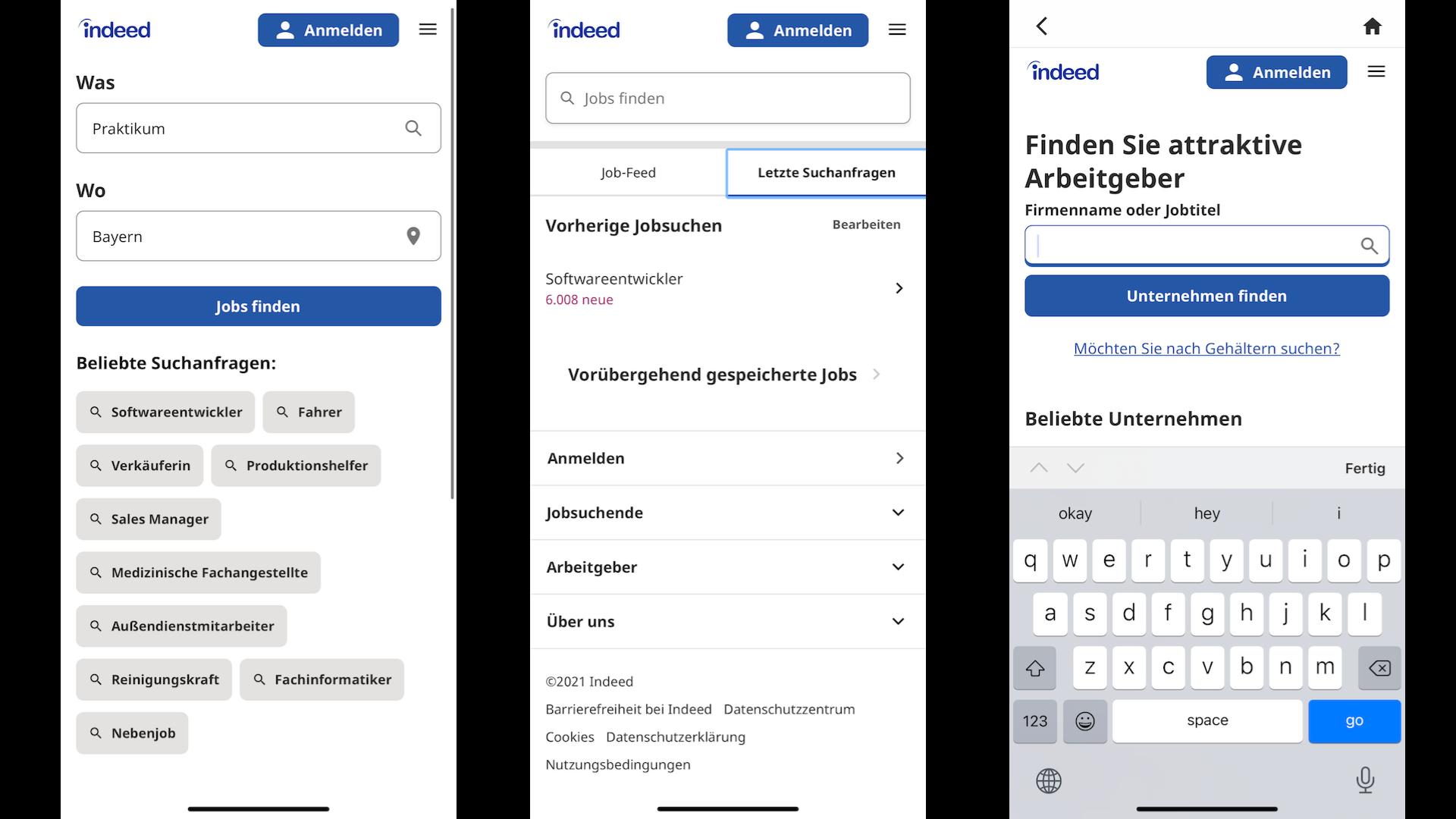 In der Indeed-App können Sie nach Stellen suchen und sich attraktive Arbeitgeber anzeigen lassen.