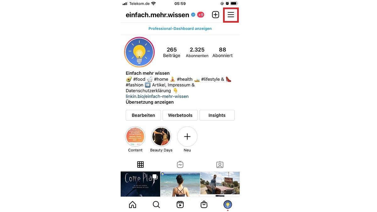 Öffnen Sie Ihr Instagram-Profil in der iOS-App und klicken Sie auf die drei waagerechten Linien in der Ecke oben rechts
