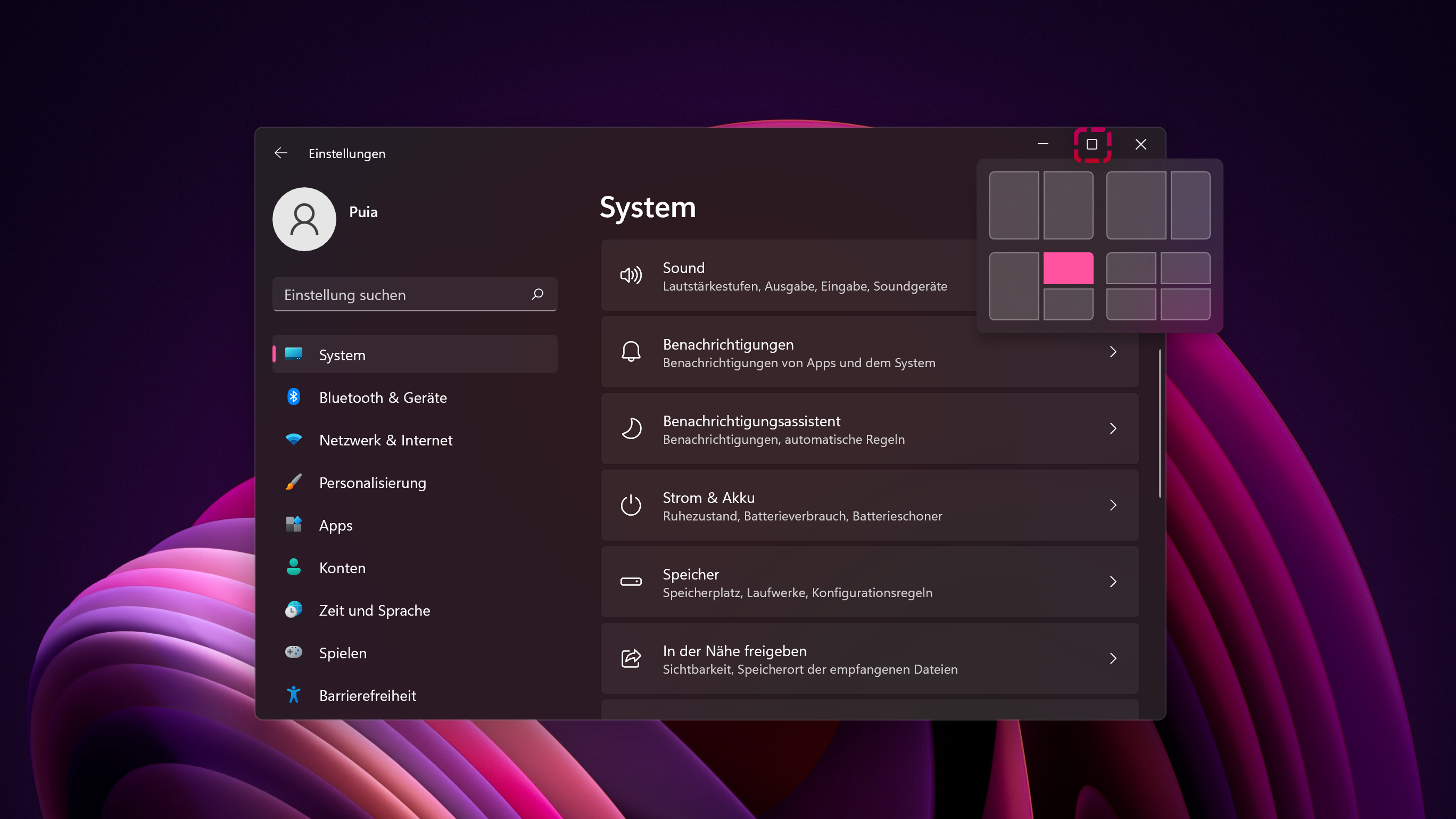 Mit Snap Layouts lassen sich in Windows 11 Ihre Fenster im Handumdrehen anordnen