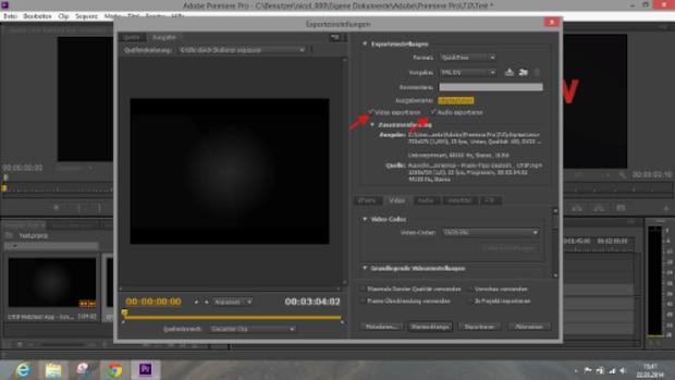 Achten Sie darauf, Video- und Tonspur zu exportieren.