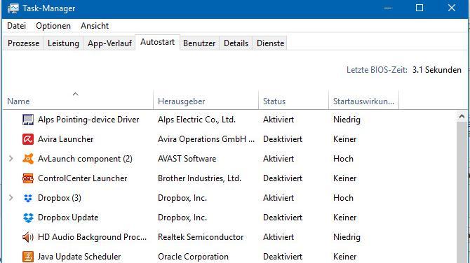 Autostart: Im Task-Manager erhalten Sie wichtige Informationen zu den Programmen, die in Ihrem Autostart-Ordner sind.