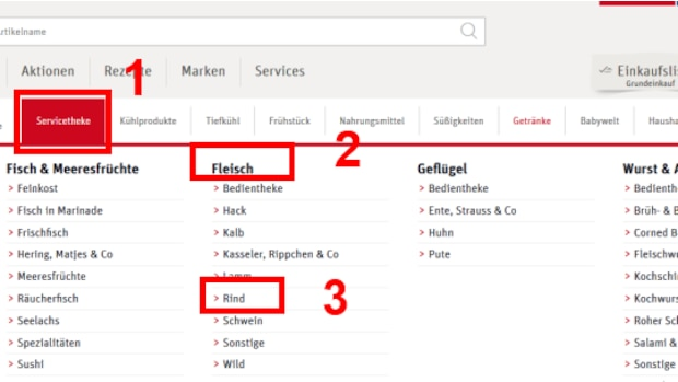 Produkte sind sortiert nach Abteilung (1), Produktkategierien (2) und Produktarten (3)