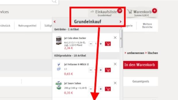 Mit nur einem Klick könnnen Sie Einkaufslisten in den Warenkorb legen