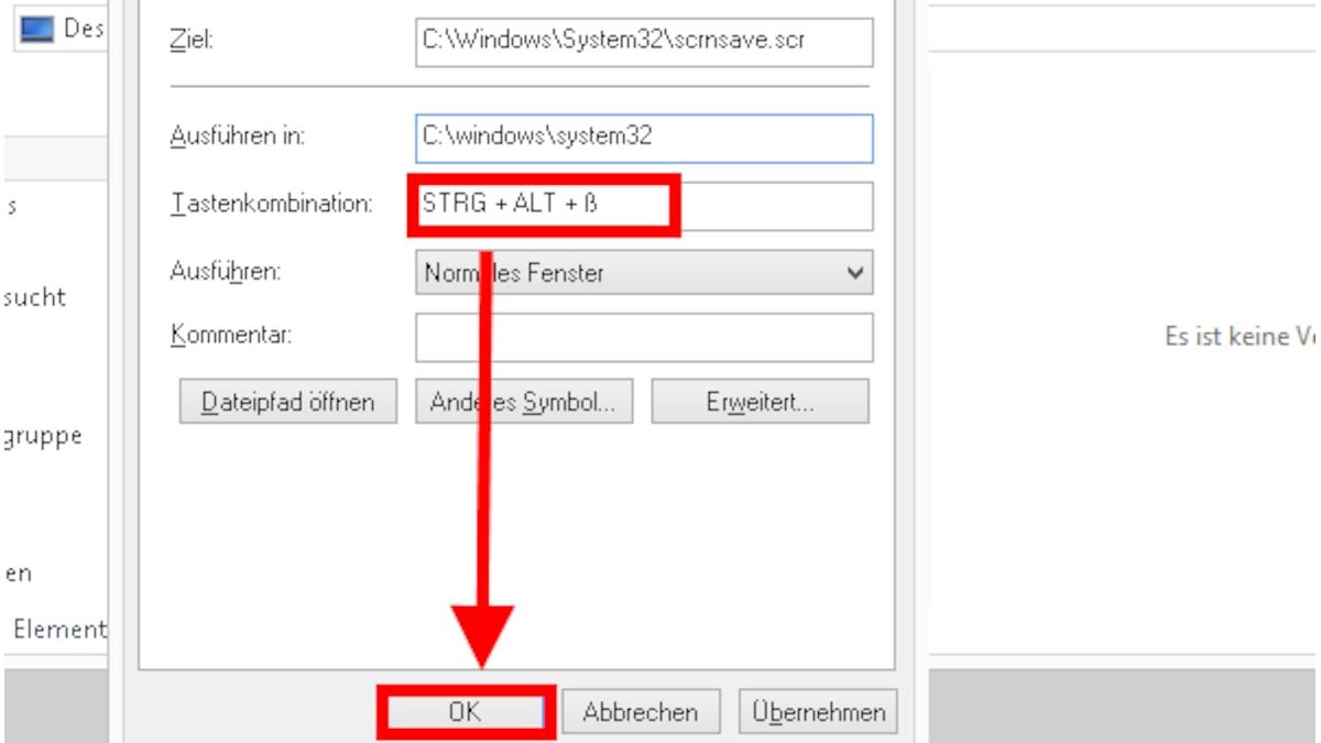 Tragen Sie eine Tastenkombination ein. Sie können die Tasten [F1] bis [F12] als Shortcut verwenden. Alternativ tragen Sie ein beliebiges anderes Zeichen ein, das dann zusammen mit der Taste [Alt Gr] oder mit den Tasten [Strg] + [Alt] als Tastenkombination fungiert, um den Monitor auszuschalten. Ausnahmen sind die Zeichen [Entf] und [Esc], die nicht als Shortcut eingetragen werden können. Bestätigen Sie Ihre Kombination mit einem Klick auf