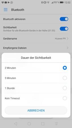 Bluetooth unter Android sichtbar machen