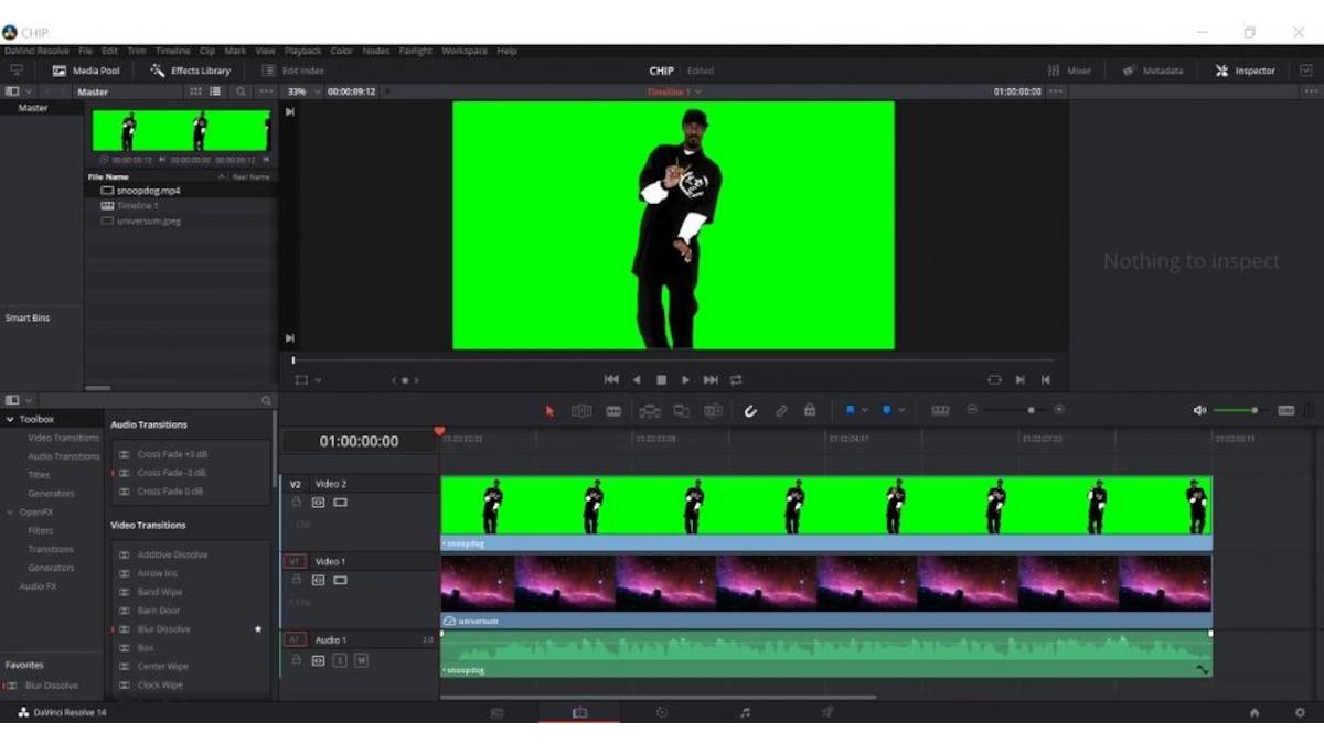 Schritt 1: Stellen Sie sicher, dass die Videospur mit dem Greenscreen über der Videospur des Hintergrundes liegt.