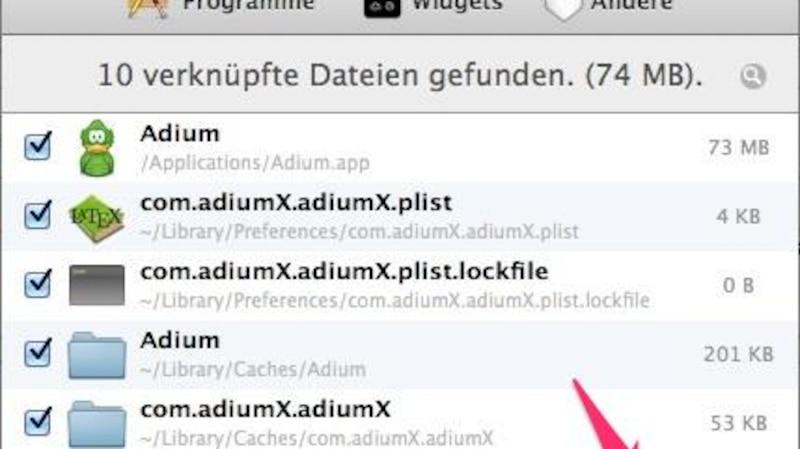 Deinstallation mit AppCleaner