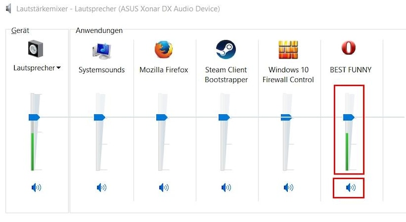 Der Lautstärkemixer von Windows