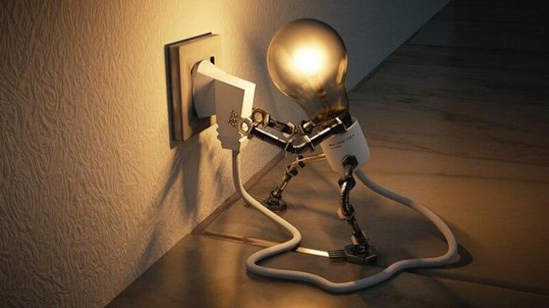 Die Glühbirne ist das Symbol für die Geschichte des Stroms.