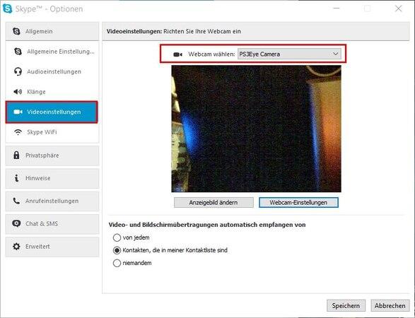 Eine Webcam in Skype einrichten