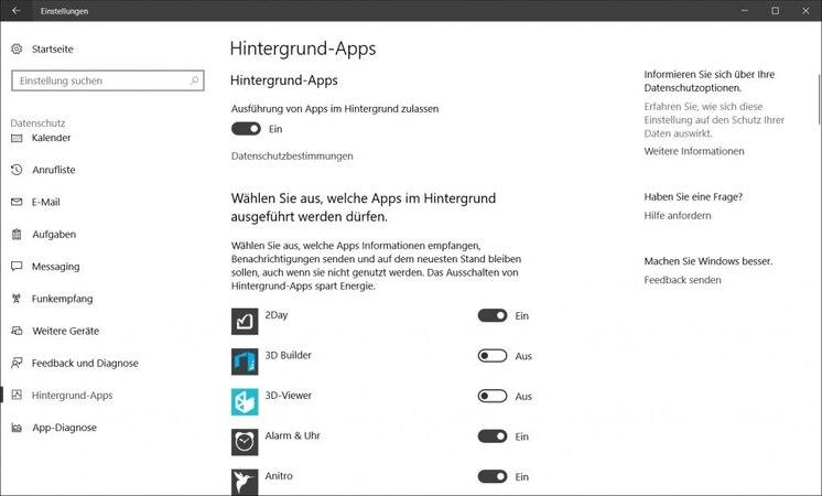Hintergrund-Apps ausschalten