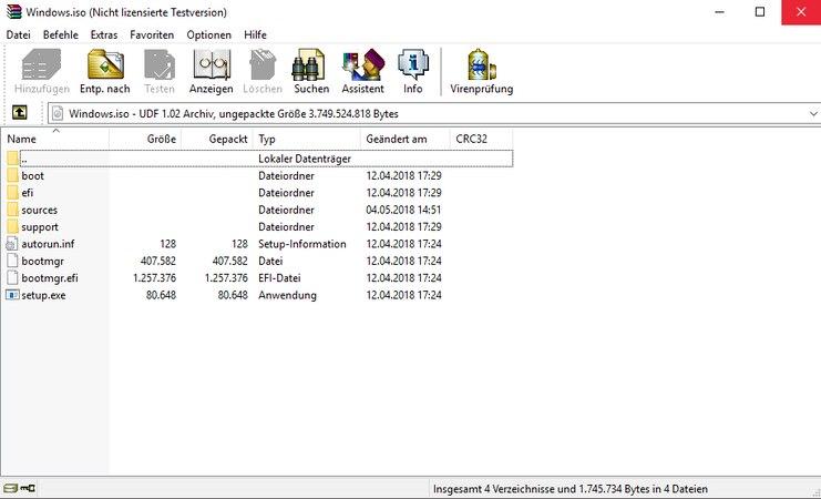 ISO-Datei mit WinRAR öffnen