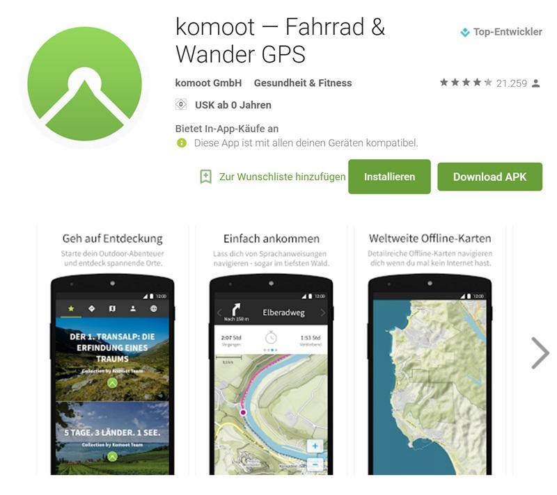 Komoot: Navi-App für Radfahrer