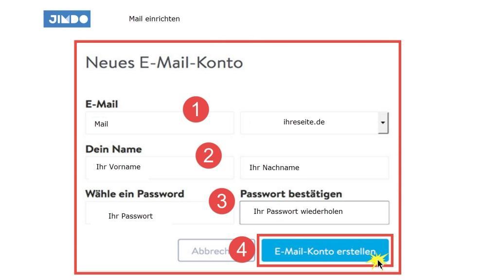 Mail bei Jimdo einrichten