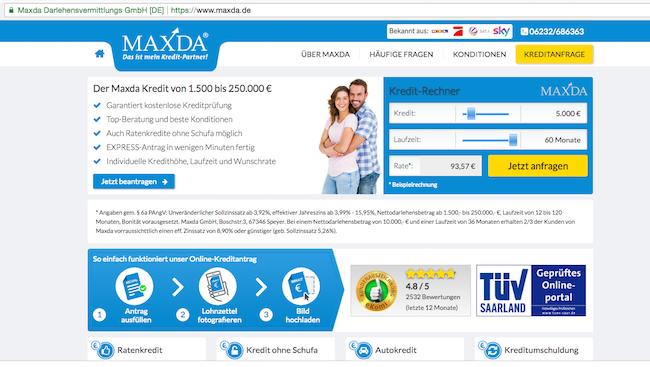 Maxda ist ein seriöser Kreditvermittler