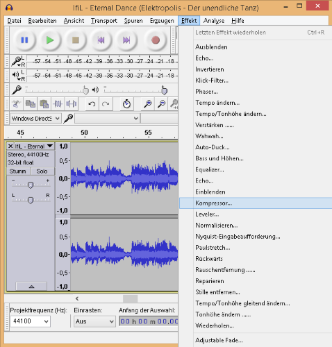 Musikproduktion in Audacity