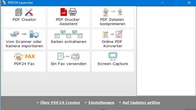 Oberfläche von PDF Creator