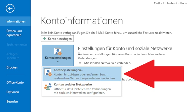 Outlook: Mail-Passwort ändern