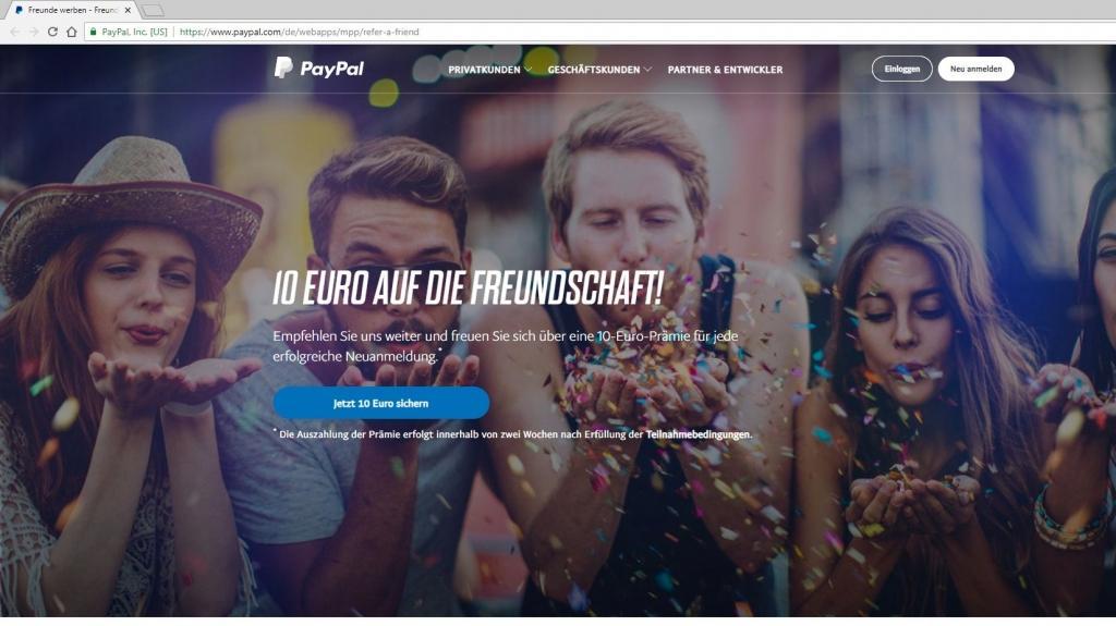 PayPal: Freunde online werben
