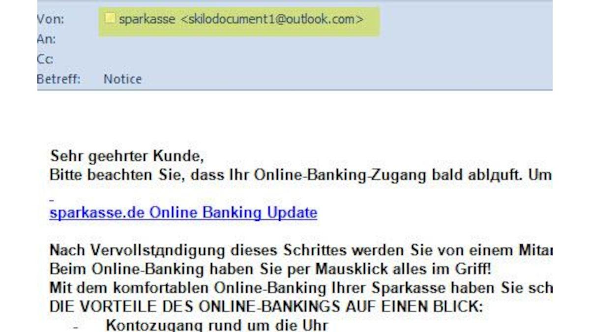 Schon am Absender erkennbar: Diese vorgebliche Sparkassen-Mail wurde definitiv nicht von Ihrer Bank versandt.