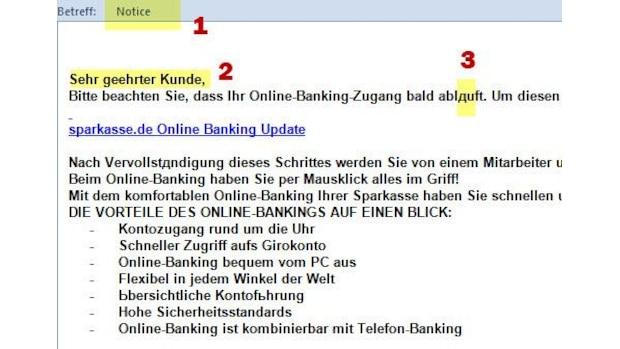 Weitere Phishing-Signale: der englischsprachige Betreff (1), die unpersönliche Anrede (2) sowie die Sonderzeichen im Mailtext (3).