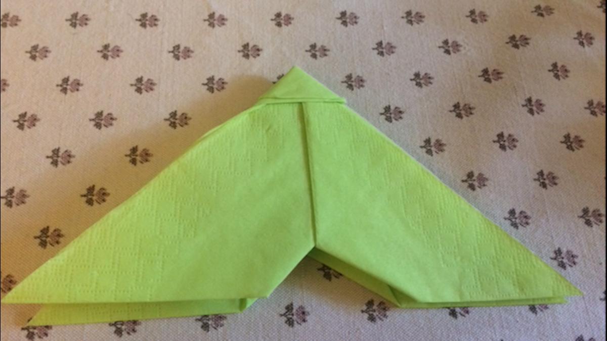 Haben Sie die Flügel nach hinten geschlagen, sieht die Serviette so aus.