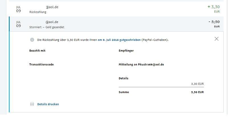 Überweisung bei PayPayl stornieren (Bild: Screenshot)