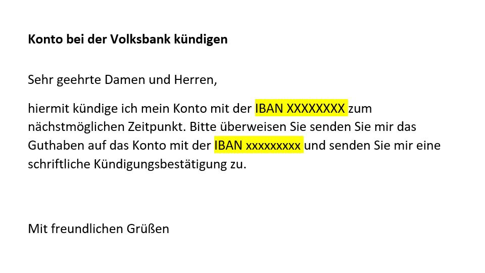 Volksbank-Konto kündigen