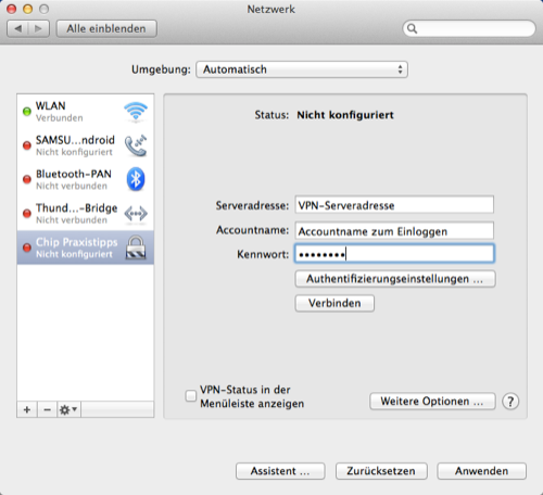VPN unter MacOS einrichten
