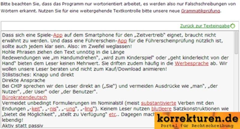 korrekturen.de bietet gesonderte Rechtschreib- und Grammatiküberprüfung.