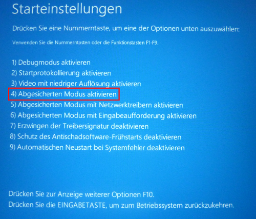 Windows 10: Abgesicherter Modus