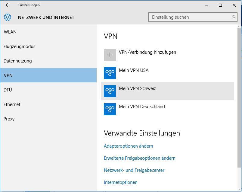 Windows 10: VPN-Verbindung