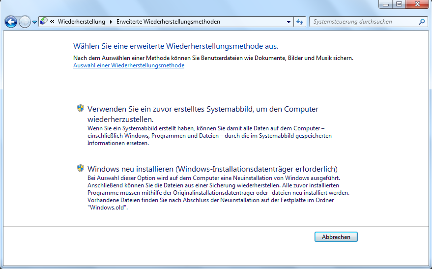 Windows 7 ohne CD zurücksetzen